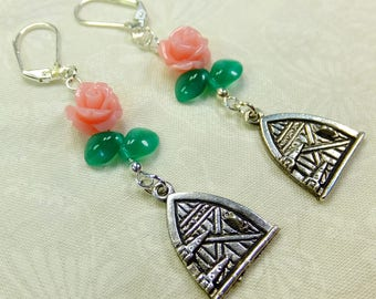 Pink Resin Roses Fantasy Dangle Earrings Pewter Fairy Door Charms with Green Glass Leaf Beads with Lever Back Ear Wires