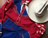 ACCORDION Vintage WESTERN Suit, Red and Blue with stitched accordion and musical notes, shirt pants hat scarf for Cajun country music lovers