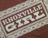 KNOXVILLE GIRL T SHIRT, cotton Knoxville Tee shirt, brown, turquoise ink, Knoxville Tennessee gift, classic country music, Tennessee attire