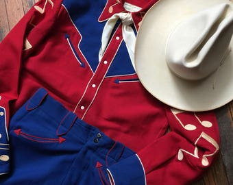ACCORDION EMBROIDERY WESTERN Vintage Suit in Red and Blue with musical notes shirt pants hat scarf rockabilly cajun country music