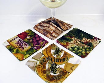 Wine Glass Coasters Wine and Vines Bottles - Set of 4