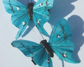 Butterfly Hair Clips Blue Aqua feather butterfly Blue Aqua Butterflies Hair Ornament hand made hair clips by Ziporgiabella