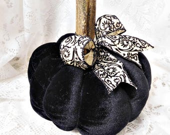 Black Velvet Large Pumpkin with Pretty Detailed Ribbon, Dried Real Pumpkin Stem, Hand Sewn, Fall Decor, Display, ECS