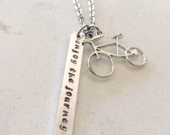 Enjoy the ride Necklace -Bicycle Necklace -Hand Stamped Necklace-Personalized  Gift- Bicycle gift-Biker gift-enjoy life