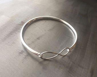 Sterling Silver Infinity Sign Bangle bracelet -Silver Bangle Bracelet -Infinity Bangle - Infinity Bracelet