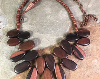 Big Bold Chunky Natural Wood Brown and Beige Teardrop Bead Handmade Necklace