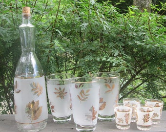 Mid Century Barware - Three Beverage Glasses/ Matching Decanter/ Four Shot Glasses - Frosted Gold Leaves - Mad Men