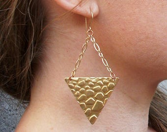 Brass-Gold-Textured-Triangle-Mix Metal-Chain-Dangle-Earrings / Free US Shipping