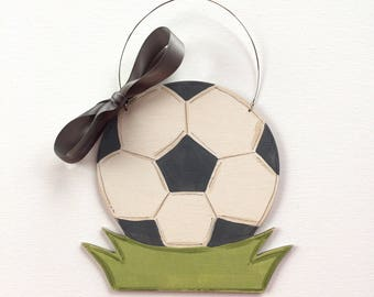 Soccer ornament - painted soccer ball ornament - personalized ornament - soccer player gift - ornament with name - wood ornament - Christmas