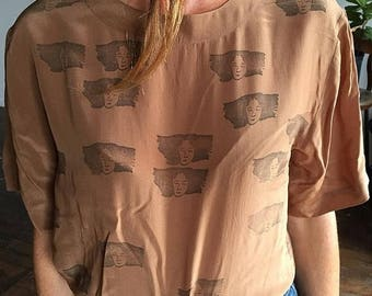 25% OFF 100 Percent Silk Top With Hand Stamped Lady Women's Blouse Medium
