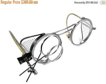Vintage WILLSON Steampunk Goggles Glasses Clear PERFORATED Side Shields 2 Magnifier LOUPES RARe Excellent Cond. - Steampunk by edmdesigns