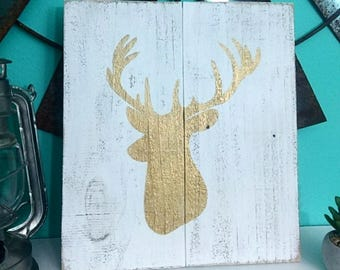 Gold Deer Buck Sign Boho Distressed Wood Sign Decor Wall Hanging Bohemian Wall Art Christmas Decor Rudolph Hunter
