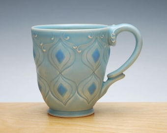Frost mug w. Sky blue detail, Victorian mod stamped cup