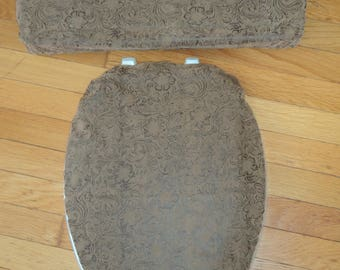 Faux Leather Toilet Seat Cover Set