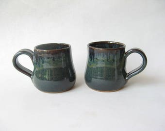 Pottery Cups Set of 2, Cortado Cups 5 oz. Set of 2, Small Ceramic Cups,  Stoneware Cups
