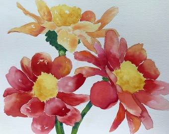 Floral Art-Zinnias-Orange Flower-Red Flower-Yellow Flower-Watercolor Painting of Red, Orange and Yellow  Zinnias-Wall Art