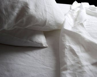 Washed Linen Pillowcase, White Linen Pillowcases, White Pillow Cover, Bedding, Standard, Twin, Ready to Ship