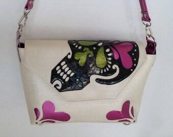 Sugar skull handbag white linen-textured vinyl w black sugar skull magenta hearts and lime vinyl eyes