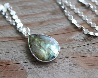 Large Sterling Silver Labradorite Wire Wrapped Gemstone Necklace. Long Circle Chain Necklace.