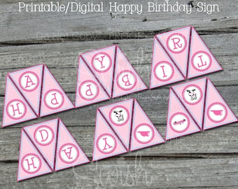 Pink Firetruck Birthday Banner | Happy Birthday Pennant Banner  | Printable | Girl Fire Truck Birthday | Digital download | INSTANT DOWNLOAD