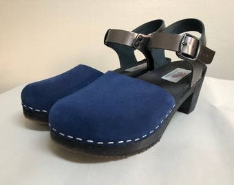 Two Tone Blue suede and Pewter Medium heel Mary Jane with buckled ankle strap