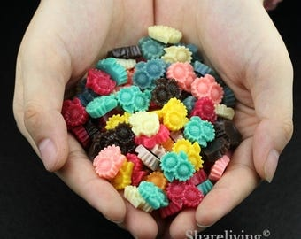 Clearance Sale -  Lots of 100pcs Mixed Color 3D Resin Flower Cabochons Charms  -- CLS003W
