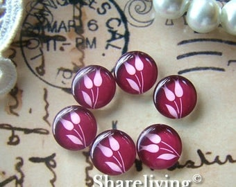 SALE - 30% OFF 12mm Photo Glass Cabochon, 8mm 10mm 14mm 16mm 20mm 25mm 30mm Round Rose glass Cabochon - BCH083H
