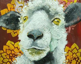 Sheep painting 30 12x12 inch original oil painting by Roz