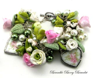 Pink Flower Bracelet Pink Rose Bracelet Gift for Her Charm Bracelet  Handmade Bracelet  Bridal Jewelry  Wedding Accessory
