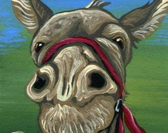 ACEO ATC Donkey Original Gouache Painting Farm Art-Carla Smale