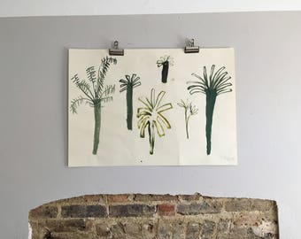 Original Faye Moorhouse Gouache painting - Tree Studies Series - A1 size - FREE worldwide shipping