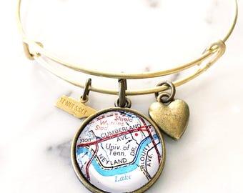 University of Tennessee Map Charm Bracelet - Tennessee Bracelet - Tennessee Jewelry - Vols Bracelet - Vols Jewelry - Knoxville Bracelet
