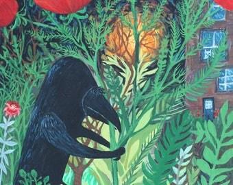 Crow & Poppies Painting - Original Raven, Black Bird Outsider Folk Art by Sara Pulver - Turn Around Little Bird -Original Artwork on Canvas