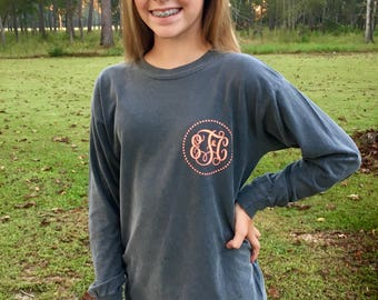 Comfort Colors Monogrammed Shirt Youth Sizes - Christmas Special