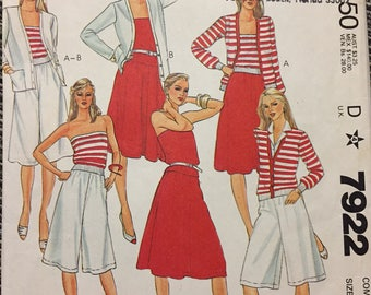 80's Misses' Cardigan Camisole, Skirt and Culotte McCall's 7922 Sewing Pattern  size 10-12-14 Bust 32-34-36 inches Complete Sewing Pattern