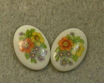 Vintage Japanese Porcelain LIMOGE OVAL CABOCHON Flower Bouquet 17mm pkg4 por214