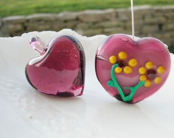 Purple Heart Beads, Murano Glass Heart Beads