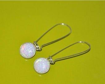 Australian Opal Earrings, Sterling Silver Earrings, Dangling Earrings Long, Opal Jewelry, 925 Sterling Silver