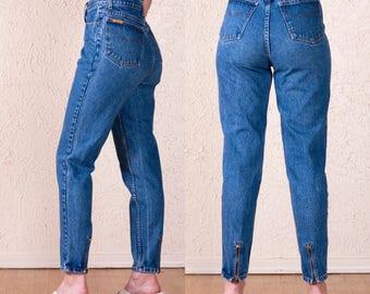 90's Jordache High Waist Jeans 27. Tapered leg. Zipper ankle