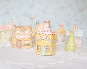 """Miniature """"BOOK SHOP"""", Ceramic Porcelain Clay House Sculpture, Fairy Garden or Terrarium Decor, English Country Village Collection"""