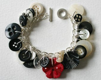 Button Bracelet Black White with a Ruby Red Accent Button