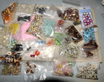 Mixed Beads Lot, 1 lb 10 oz of Beads, New Beads and Recycled Beads, Destash