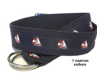 Canvas Belt, Sailboat Belt, Nautical D-Ring Belt for boys and teens, Navy Ribbon Belt, Boat Belt, Khaki Belt- Sailboat in navy