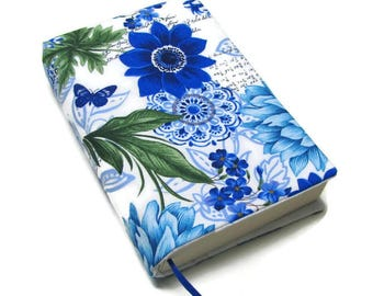 Book cover, TRADE SIZE paperback book cover,  book protector, cotton, padded cover, ribbon bookmark,   Gorgeous Blue Garden!