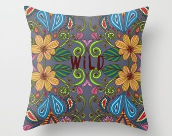 Bohemian Floral decorative pillow cover- hand illustrated floral design- nature- dorm decor- pretty boho home decor