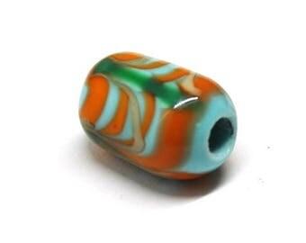 ligt blue, green, orange barrel bead