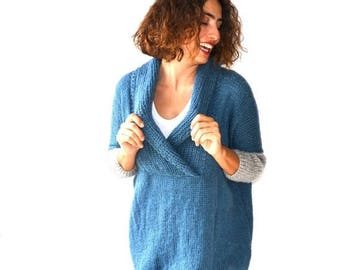 50% CLEARENCE Plus Size Hand Knitted Sweater - Blue - Poncho - Tunic - Dress by Afra