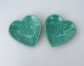 Ceramic Heart Plate,Set of two, Angelfish