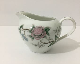 Halsey Chantilly Creamer Rare Beautiful Japanese Style Floral Silver Metallic Rim Delicate Botanical Floral