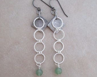 serenity green aventurine earrings soldered copper sterling silver dangle